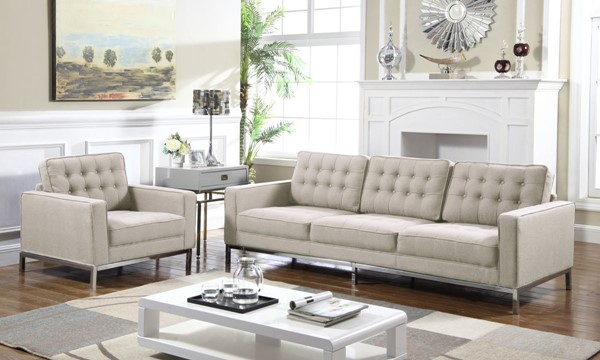 Chic Home Draper Taupe Fabric Button Tufted Sofa and Club Chair Set CHIC-FCC293-LR-S3