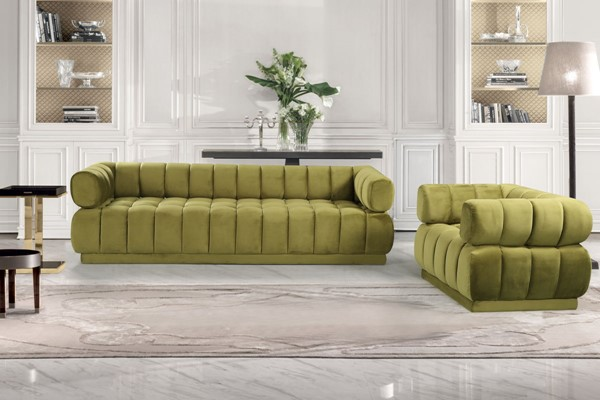 Chic Home Quebec Green Velvet Sofa and Club Chair Set CHIC-FCC923-LR-S4