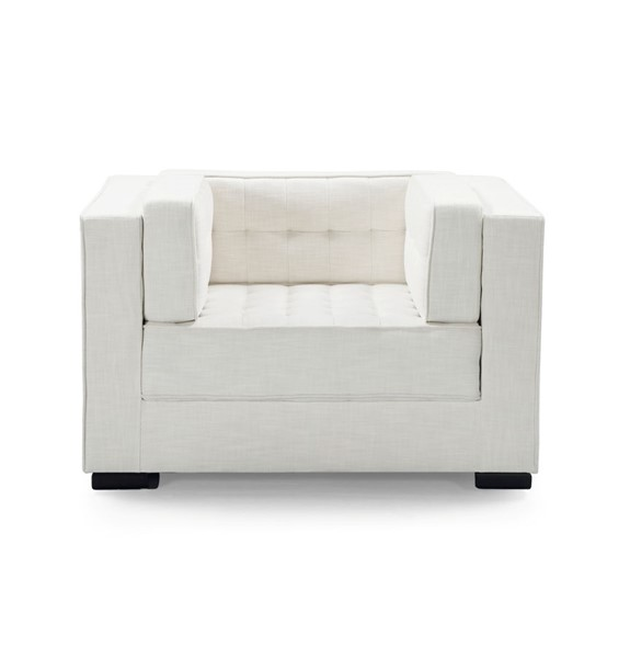 Chic Home Lorenzo Ecru Fabric Tufted Accent Club Chair CHIC-FCC9280-CE