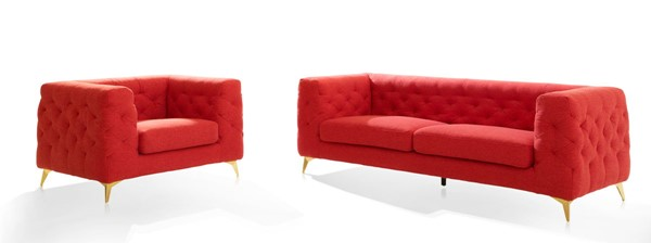 Chic Home Soho Red Fabric Sofa and Accent Club Chair Set CHIC-FSA936-LR-S2