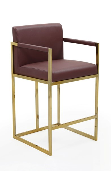Chic Home Quest Wine PU Upholstered Counter Stool Chair CHIC-FCS9451-CE