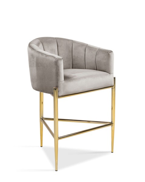 Chic Home Cyrene Taupe Velvet Upholstered Counter Stool Chair CHIC-FCS9492-CE