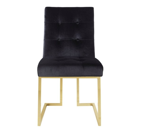 2 Chic Home Liam Black Velvet Tufted Back Dining Side Chairs CHIC-FDC2700-CE