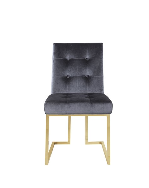 2 Chic Home Liam Grey Velvet Tufted Back Dining Side Chairs CHIC-FDC2701-CE
