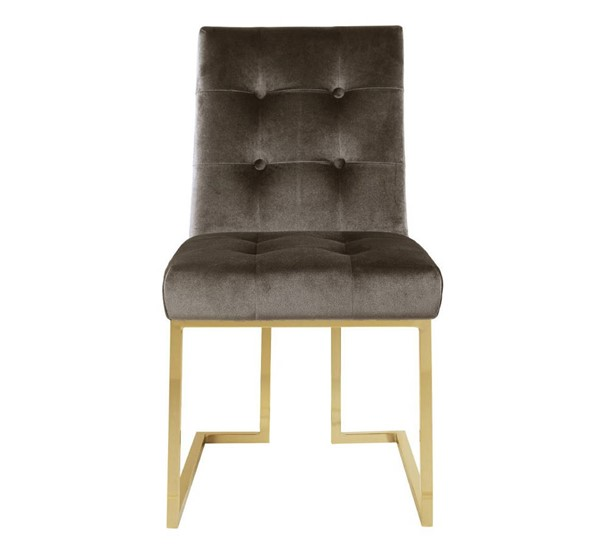 2 Chic Home Liam Taupe Velvet Tufted Back Dining Side Chairs CHIC-FDC2703-CE