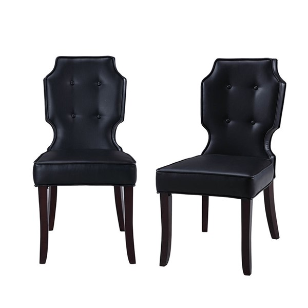 2 Chic Home Lennon Black PU Button Tufted Back Dining Chairs CHIC-FDC2912-CE