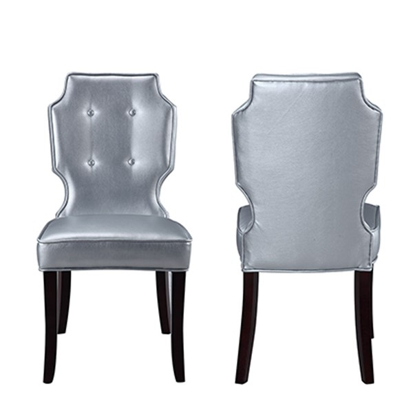 2 Chic Home Lennon Silver PU Button Tufted Back Dining Chairs CHIC-FDC2913-CE