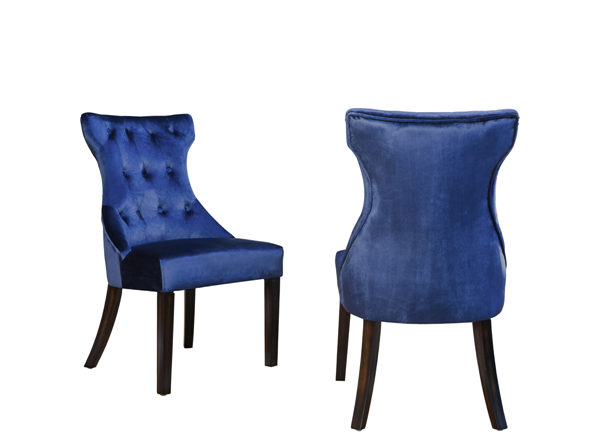 2 Chic Home Dickens Navy Velvet Button Tufted Back Dining Side Chairs CHIC-FDC2914-CE