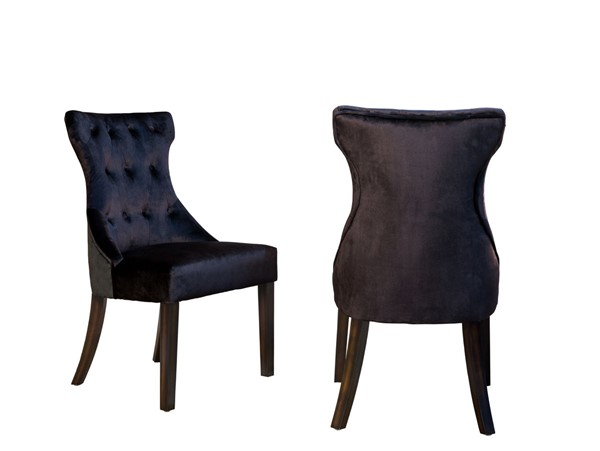2 Chic Home Dickens Black Velvet Button Tufted Back Dining Side Chairs CHIC-FDC2915-CE