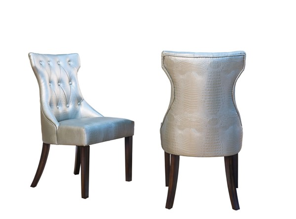 2 Chic Home Dickens Silver PU Button Tufted Back Dining Side Chairs CHIC-FDC2916-CE