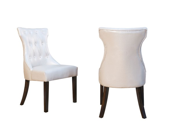 2 Chic Home Dickens Pearl PU Button Tufted Back Dining Side Chairs CHIC-FDC2917-CE