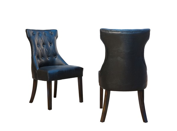 2 Chic Home Dickens Black PU Button Tufted Back Dining Side Chairs CHIC-FDC2918-CE