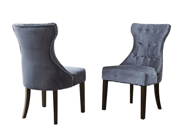 2 Chic Home Dickens Grey Velvet Button Tufted Back Dining Side Chairs CHIC-FDC2921-CE