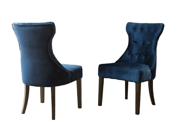 2 Chic Home Dickens Ice Blue Velvet Button Tufted Back Dining Side Chairs CHIC-FDC2922-CE