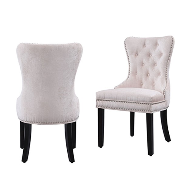 2 Chic Home Diana Beige Velvet Nailhead Dining Side Accent Chairs CHIC-FDC2931-CE