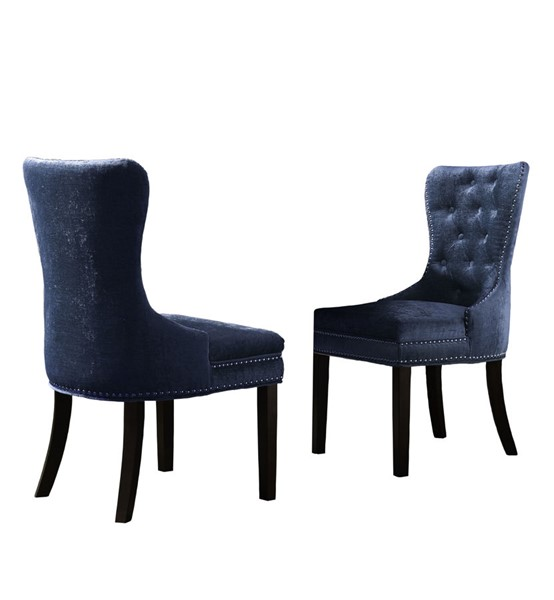 2 Chic Home Diana Blue Velvet Nailhead Dining Side Accent Chairs CHIC-FDC2932-CE