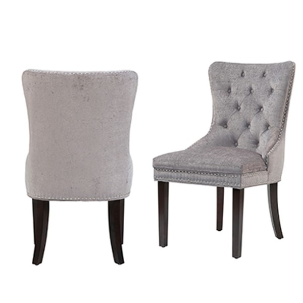 2 Chic Home Diana Grey Velvet Nailhead Dining Side Accent Chairs CHIC-FDC2933-CE