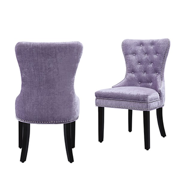 2 Chic Home Diana Purple Velvet Nailhead Dining Side Accent Chairs CHIC-FDC2934-CE