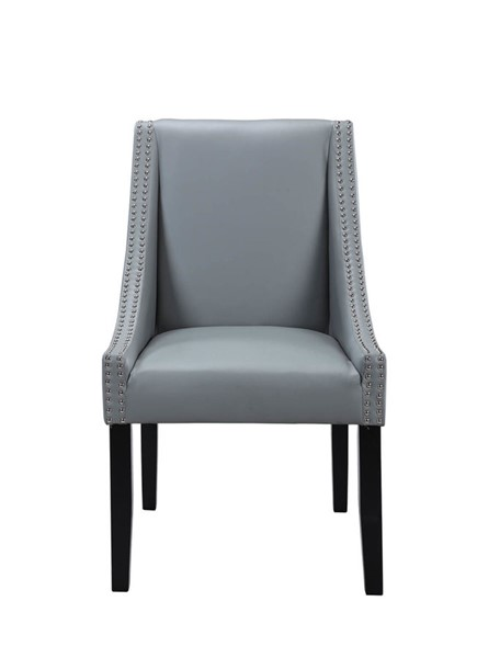 2 Chic Home Lincoln Grey PU Nailhead Dining Side Accent Chairs CHIC-FDC2962-CE