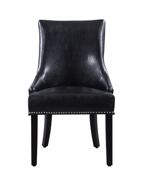 2 Chic Home Brando Black PU Nailhead Dining Side Accent Chairs CHIC-FDC2963-CE