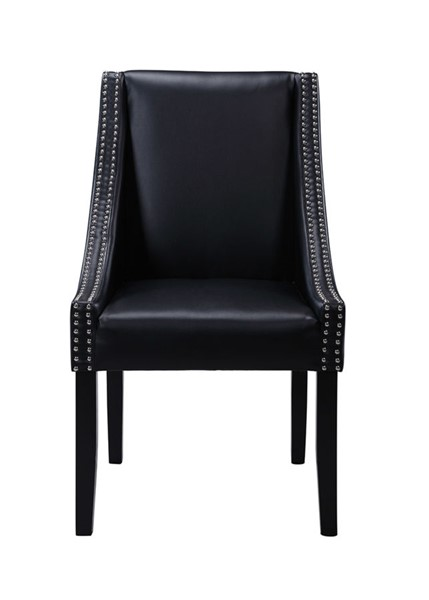 2 Chic Home Lincoln Black PU Nailhead Dining Side Accent Chairs CHIC-FDC2984-CE