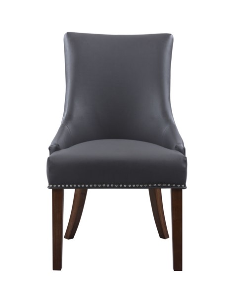 2 Chic Home Brando Grey PU Nailhead Dining Side Accent Chairs CHIC-FDC2988-CE