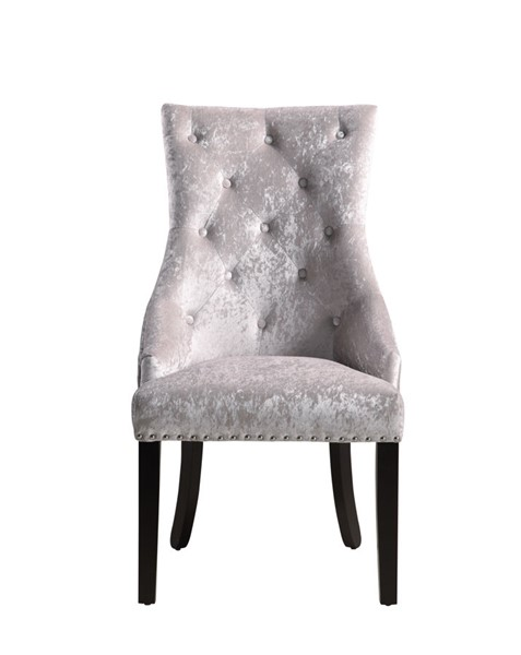 2 Chic Home Raizel Grey Velvet Nailhead Dining Side Accent Chairs CHIC-FDC9076-CE
