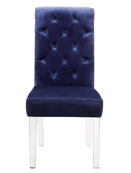 2 Chic Home Sharon Navy Velvet Button Tufted Back Dining Side Chairs CHIC-FDC9079-CE