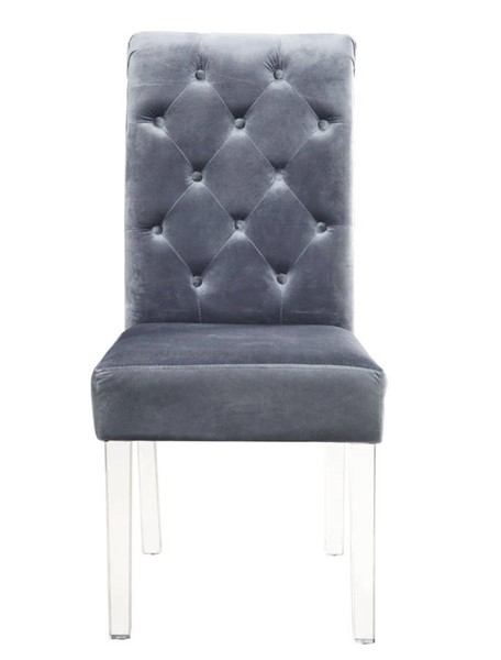 2 Chic Home Sharon Grey Velvet Button Tufted Back Dining Side Chairs CHIC-FDC9080-CE