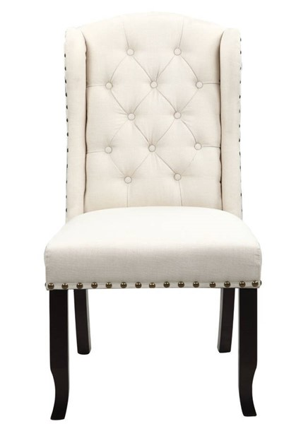 2 Chic Home Shira Beige Fabric Nailhead Dining Side Accent Chairs CHIC-FDC9083-CE