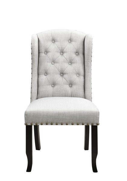 2 Chic Home Shira Grey Fabric Nailhead Dining Side Accent Chairs CHIC-FDC9084-CE