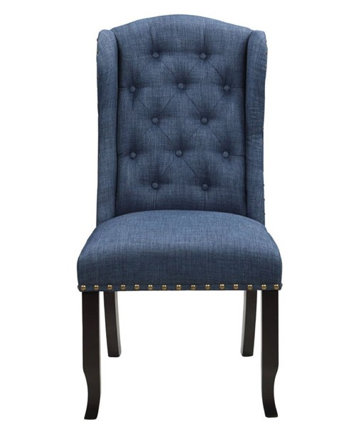 2 Chic Home Shira Navy Fabric Nailhead Dining Side Accent Chairs CHIC-FDC9085-CE
