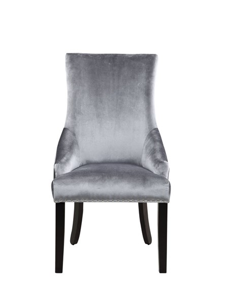 2 Chic Home Machla Grey Velvet Nailhead Dining Side Chairs CHIC-FDC9087-CE
