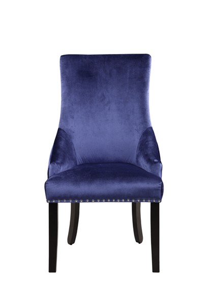 2 Chic Home Machla Navy Velvet Nailhead Dining Side Chairs CHIC-FDC9088-CE