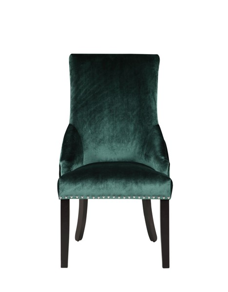 2 Chic Home Machla Green Velvet Nailhead Dining Side Chairs CHIC-FDC9089-CE