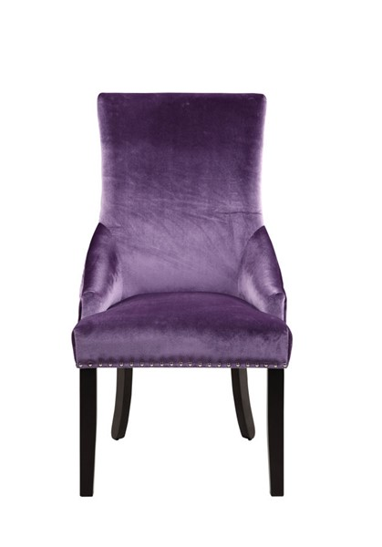 2 Chic Home Machla Lavender Velvet Nailhead Dining Side Chairs CHIC-FDC9090-CE