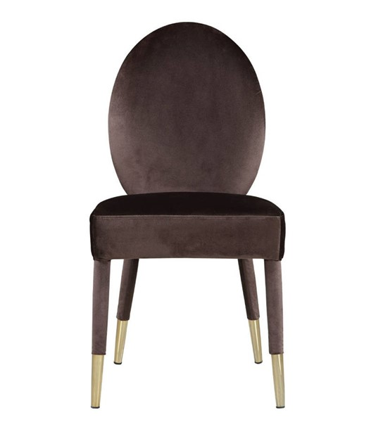 2 Chic Home Leverett Brown Velvet Oval Back Dining Chairs CHIC-FDC9114-CE