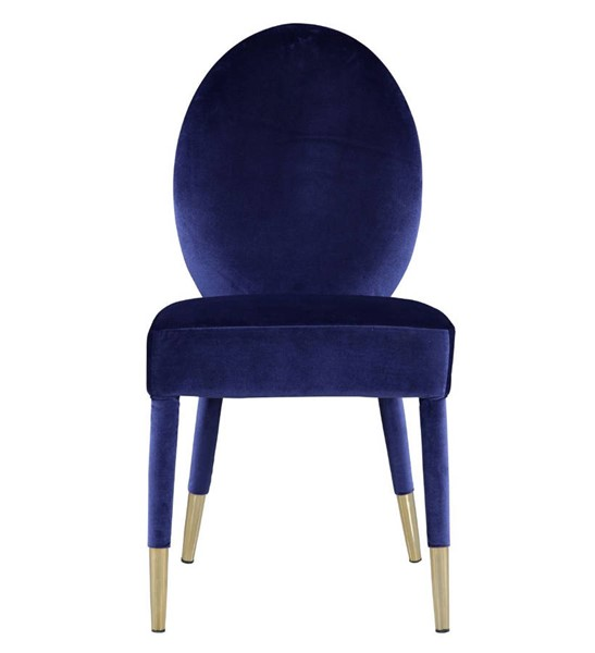2 Chic Home Leverett Navy Velvet Oval Back Dining Chairs CHIC-FDC9116-CE