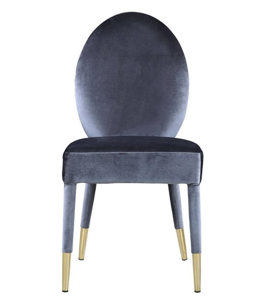 2 Chic Home Leverett Grey Velvet Oval Back Dining Chairs CHIC-FDC9117-CE