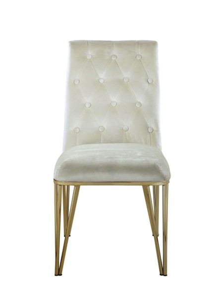2 Chic Home Cadence Beige Velvet Button Tufted Dining Side Chairs CHIC-FDC9118-CE