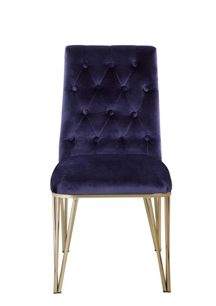 2 Chic Home Cadence Navy Velvet Button Tufted Dining Side Chairs CHIC-FDC9121-CE