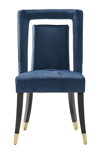 2 Chic Home Elsie Navy Velvet Nailhead Dining Side Chairs CHIC-FDC9501-CE