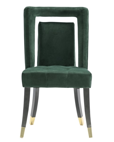 2 Chic Home Elsie Green Velvet Nailhead Dining Side Chairs CHIC-FDC9502-CE
