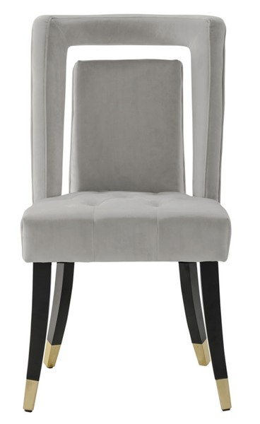 2 Chic Home Elsie Silver Velvet Nailhead Dining Side Chairs CHIC-FDC9503-CE
