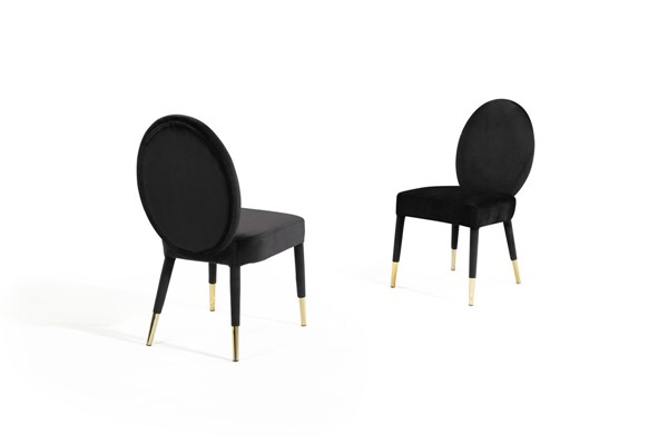 2 Chic Home Leverett Black Velvet Oval Back Dining Chairs CHIC-FDC9505-CE