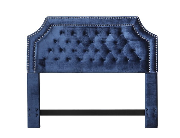 Chic Home Chava Navy Velvet Button Tufted Nailhead Queen Headboard CHIC-FHB9022-CE
