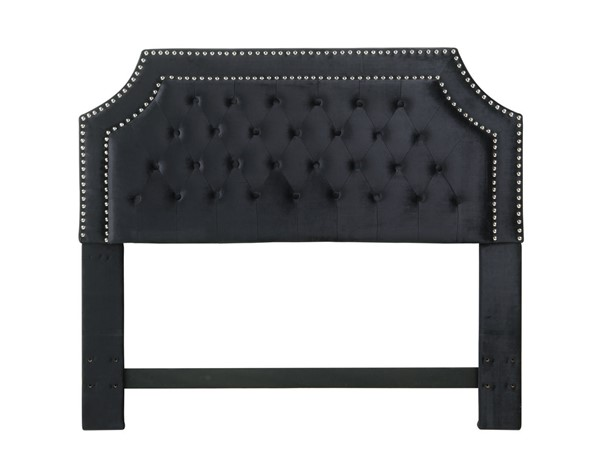 Chic Home Chava Black Velvet Button Tufted Nailhead Twin Headboard CHIC-FHB9033-CE