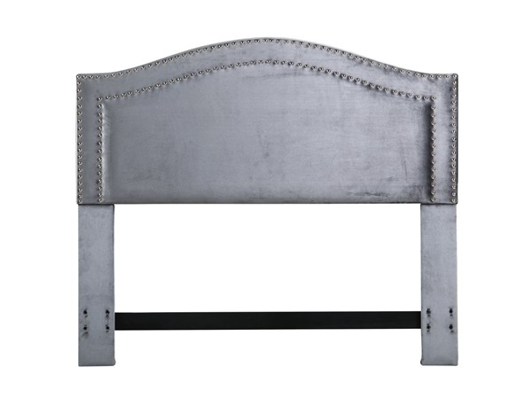 Chic Home Tal Grey Velvet Upholstered Nailhead King Headboard CHIC-FHB9044-CE