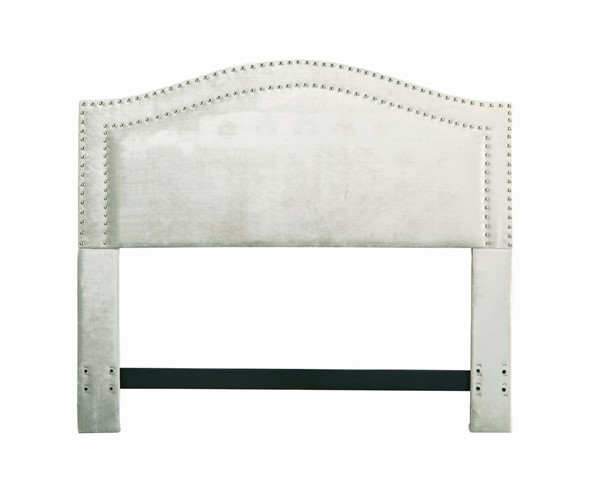 Chic Home Tal Silver Velvet Upholstered Nailhead Queen Headboard CHIC-FHB9051-CE