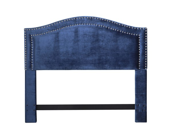 Chic Home Tal Navy Velvet Upholstered Nailhead Queen Headboard CHIC-FHB9052-CE